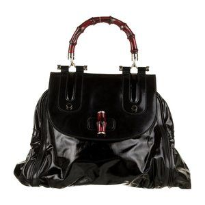 Gucci Glazed Leather Dialux Bamboo Bag! Excellent!
